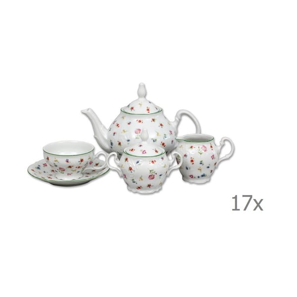 Porcelanowy zestaw na herbatę z kwiatowym motywem Thun Bernadotte