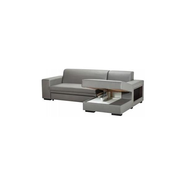 Rozkládací pohovka A-Maze s úložným prostorem 245 cm, šedá, pravá strana