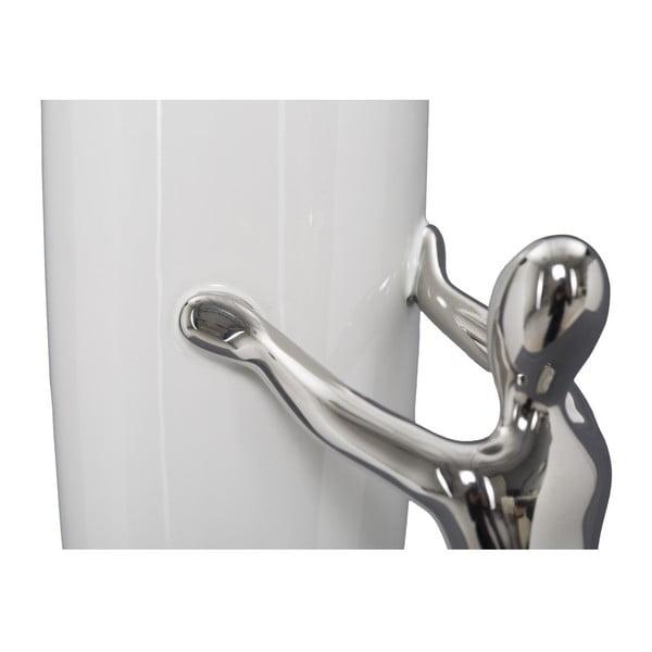 Vază din ceramică Mauro Ferretti Lift, alb-argintiu