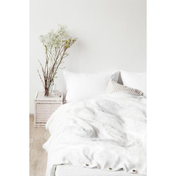 Biała lniana poszwa na kołdrę Linen Tales, 200x220 cm
