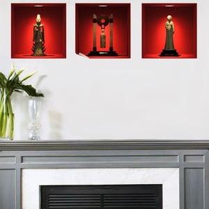 Sada 3 samolepek s 3D efektem Fanastick Chinese Statues
