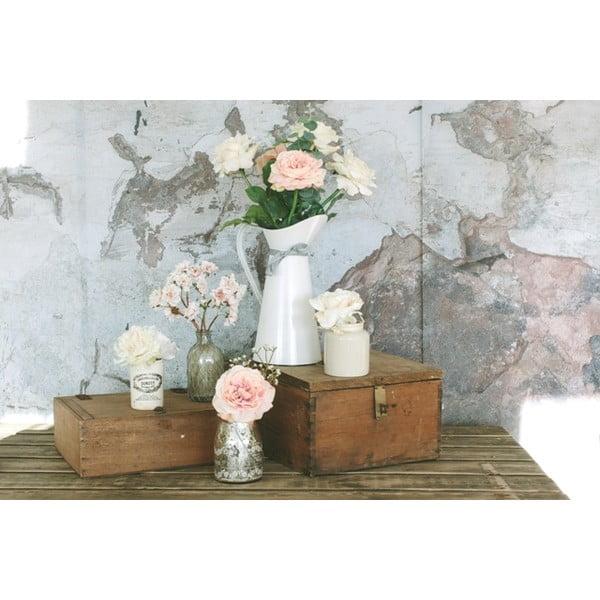 Skleněná váza s umělou květinou Rose, 27 cm