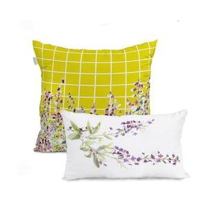 Sada 2 bavlněných povlaků na polštář HF Living Sisu White and Yellow