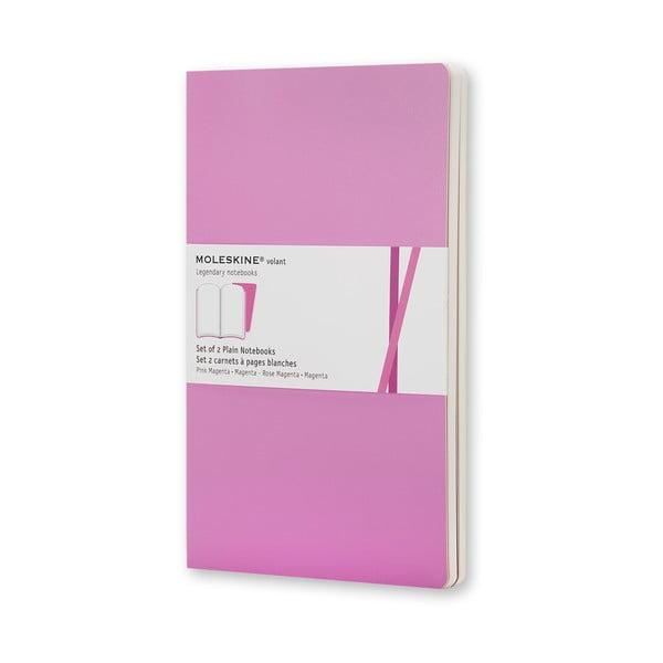 Sada 2 notesů Moleskine Volant 9x14 cm, růžová + čisté stránky