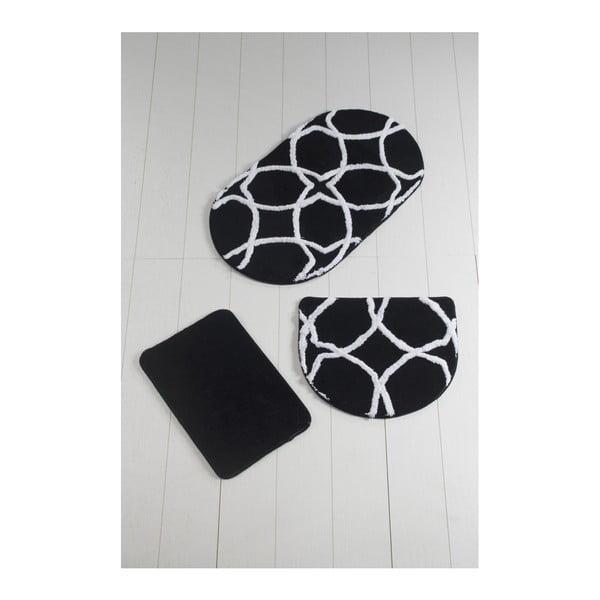 Komplet 3 czarno-białych dywaników łazienkowych Bonne Oval