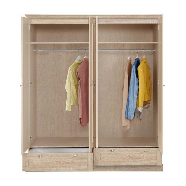 Čtyřdveřová šatní skříň v dubovém dekoru Støraa Bruce