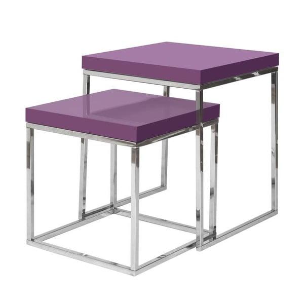 Sada 2 odkládacích stolků s fialovou deskou TemaHome Prairie