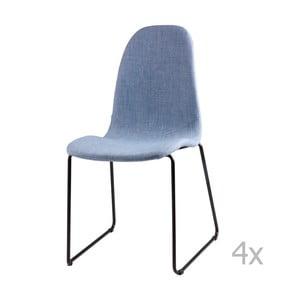Sada 4 světle modrých  jídelních židlí sømcasa Helena