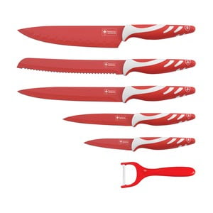 6dílná sada nožů Non-stick White Color, červená