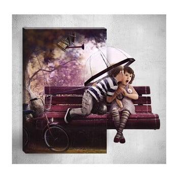 Tablou de perete 3D Mosticx Cute Kids In Rain, 40 x 60 cm