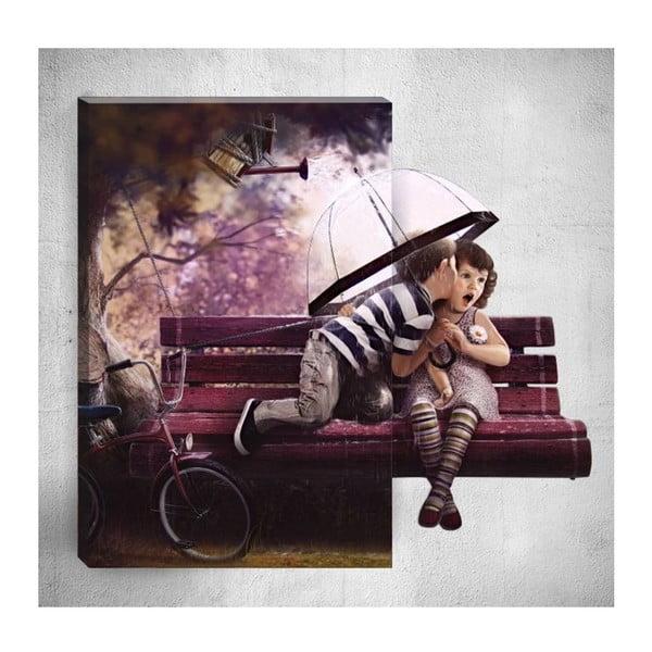 Nástěnný 3D obraz Mosticx Cute Kids In Rain, 40 x 60 cm