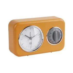 Žluté stolní hodiny s kuchyňskou minutkou PT LIVING Nostalgia