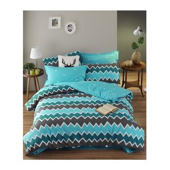 Lenjerie de pat cu cearșaf din bumbac ranforce, pentru pat dublu Mijolnir Zigros Antracite, 160 x 220 cm de la Mijolnir