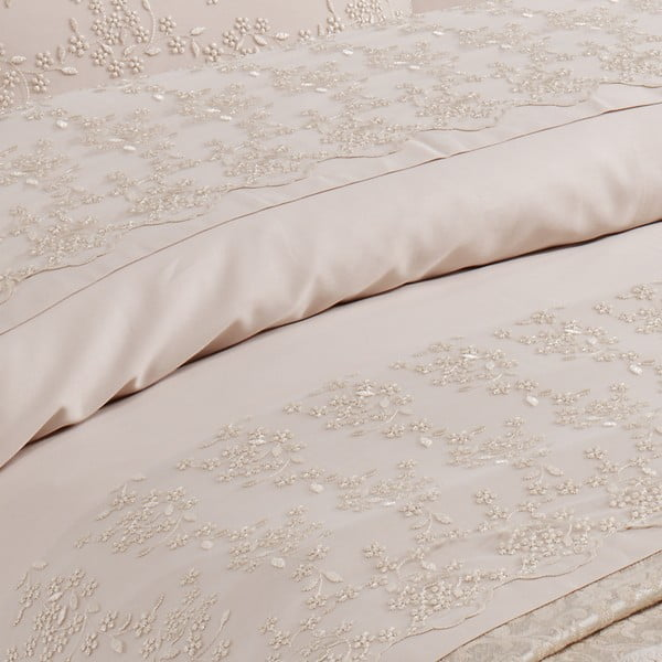Kompletní sada Gelin Beige, 200x220 cm (přehoz, ručníky)