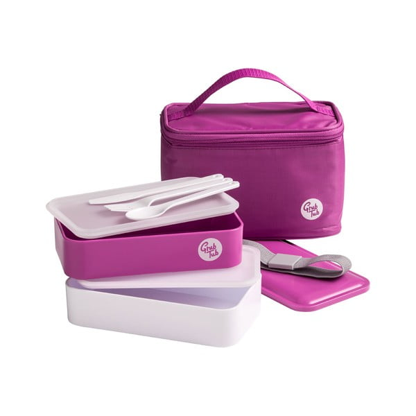 Set tmavě růžového svačinového boxu a tašky Premier Housewares Grub Tub, 21 x 13 cm