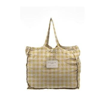 Geantă textilă Linen Couture Linen Bag Yellow Vichy imagine