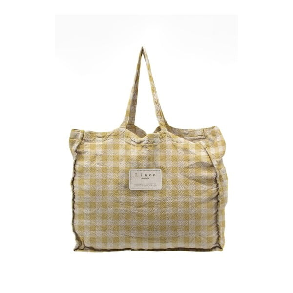 Linen Bag Yellow Vichy szövet táska - Linen Couture