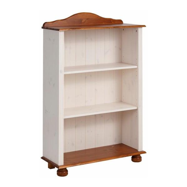 Bibliotecă joasă din lemn de pin Støraa Ella, alb-maro