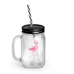 Borcan cu capac și pai Vialli Design Mia Natura Flamingo, 450 ml