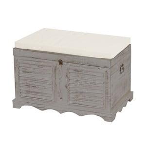 Ladă din lemn cu spațiu de depozitare Mendler Shabby, gri