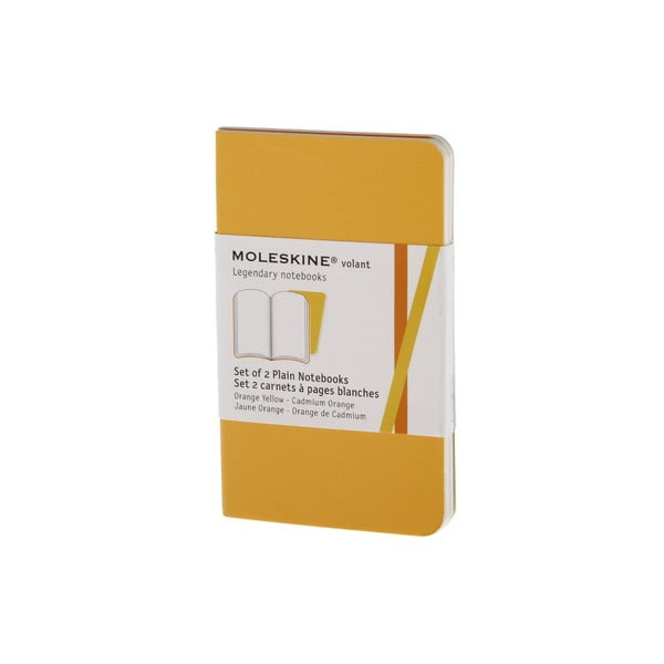 Sada 2 notesů Moleskine Volant 7x11 cm, žlutá + čisté stránky
