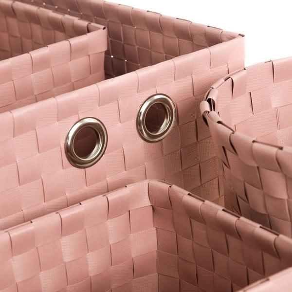 Sada 4 pudrově růžových úložných košíků Unimasa