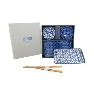 Set talířů a hůlek Nippon Blue Geometric, 6 ks