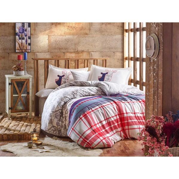Lenjerie și cearceaf din bumbac pentru pat de o persoană Hobby Valentina Grey, 160 x 220 cm