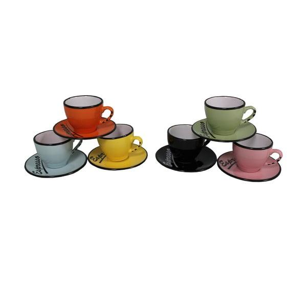 Set 6 cești cu farfurie Antic Line Espresso