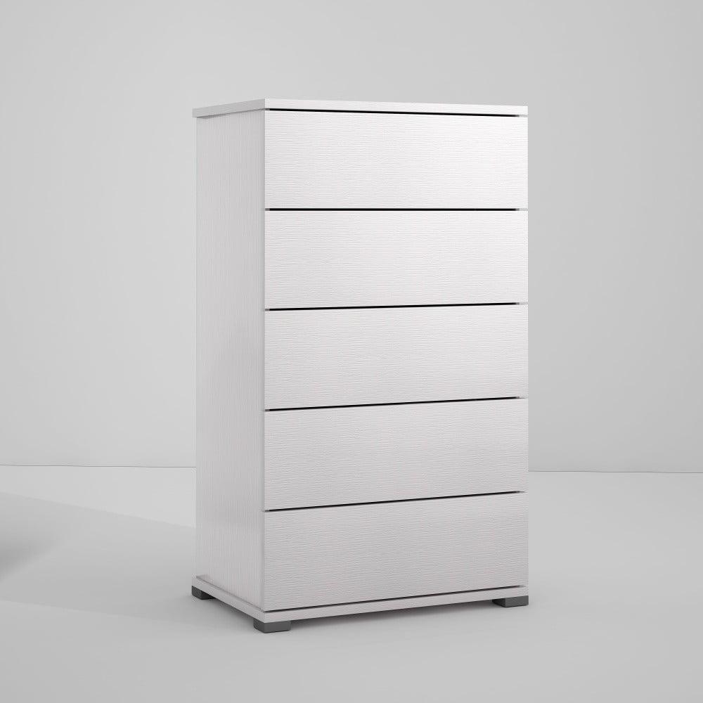 Bílá komoda s 5 zásuvkami Terraneo