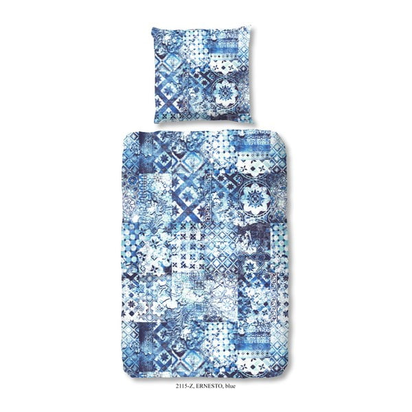 Pendoro Azul egyszemélyes pamut-szatén ágyneműhuzat garnitúra, 140 x 200 cm - zouzou
