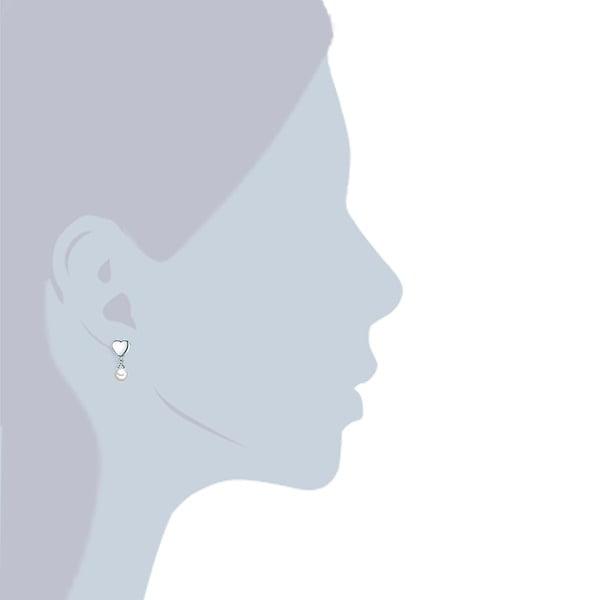 Náušnice s bílou perlou Perldesse Sei,⌀0,6cm