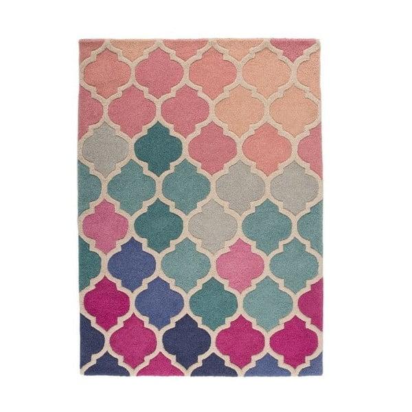 Niebiesko-różowy dywan wełniany Flair Rugs Rosella, 160x220 cm