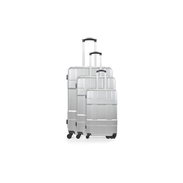 Sada 3 stříbrných cestovních kufrů na kolečkách Hero Garcia