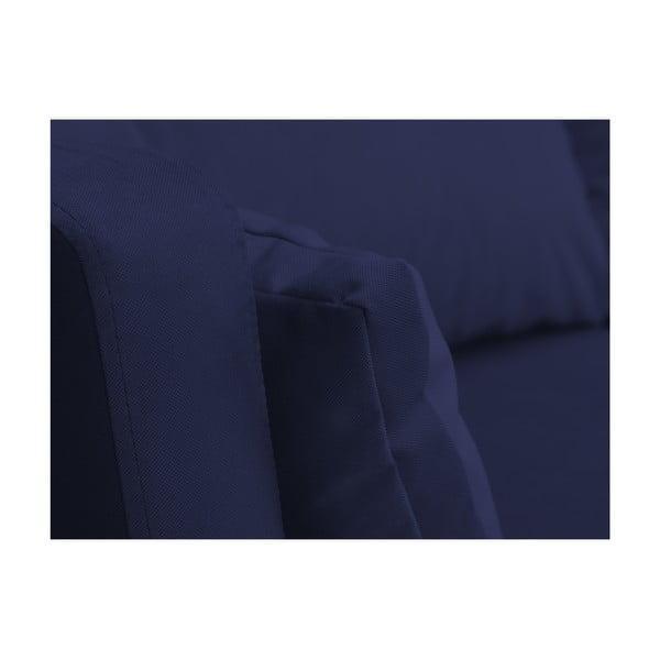 Námořnicky modrá třímístná pohovka Mazzini Sofas Elena, slenoškou na levém rohu
