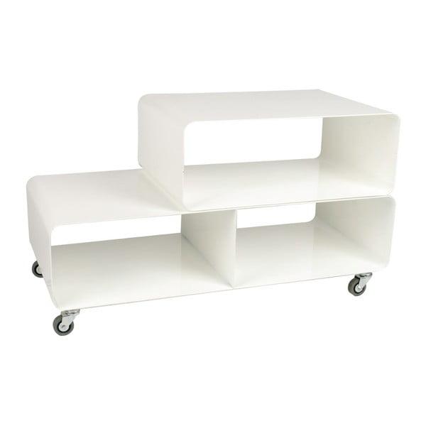 Bílý televizní stolek s kolečky Kare Design TV Mobile