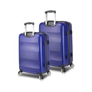 Sada 2 modrých cestovních kufrů na kolečkách s USB porty My Valice LASSO Cabin & Medium