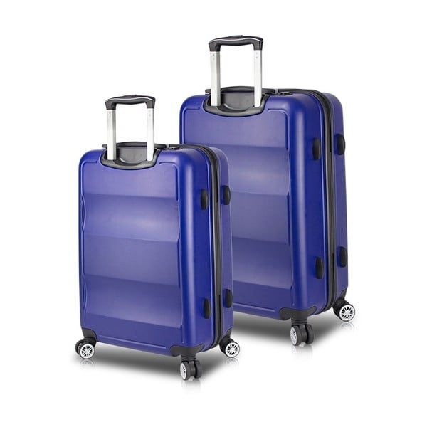 LASSO Cabin & Medium 2 kék görgős bőrönd USB csatlakozóval - My Valice