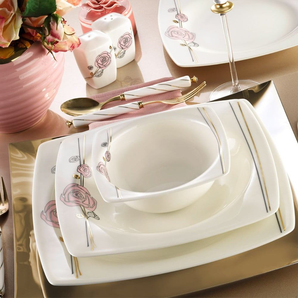 28dílná sada nádobí z porcelánu Kutahya Sonya