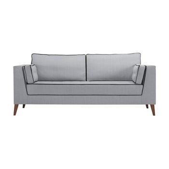 Canapea cu 3 locuri cu detalii negre Stella Cadente Maison Atalaia Light Grey gri deschis