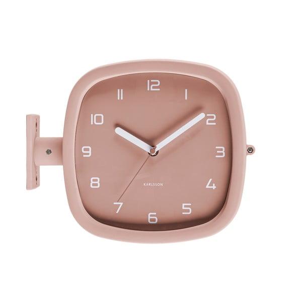 Szaroróżowy zegar ścienny Karlsson Slides, 29x24,5 cm