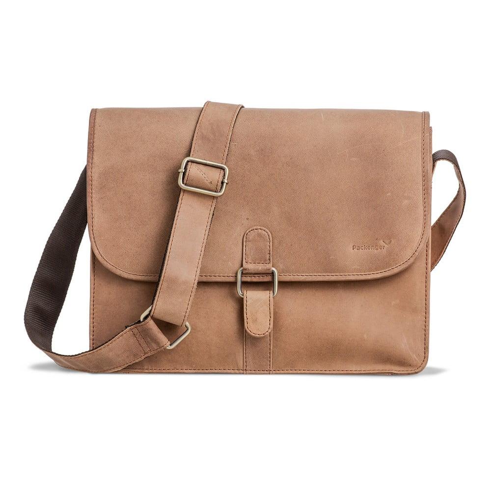 54468e288edd ... Světle hnědá kožená taška přes rameno Packenger Aslang ...