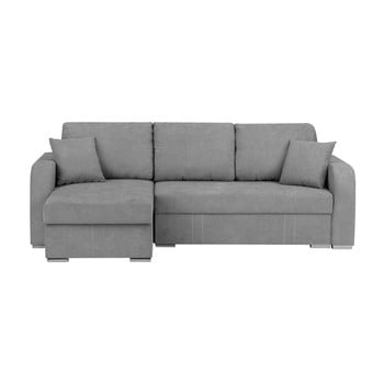 Canapea pe colț, extensibilă, cu 3 locuri și spațiu pentru depozitare Melart Louise, gri deschis de la Melart