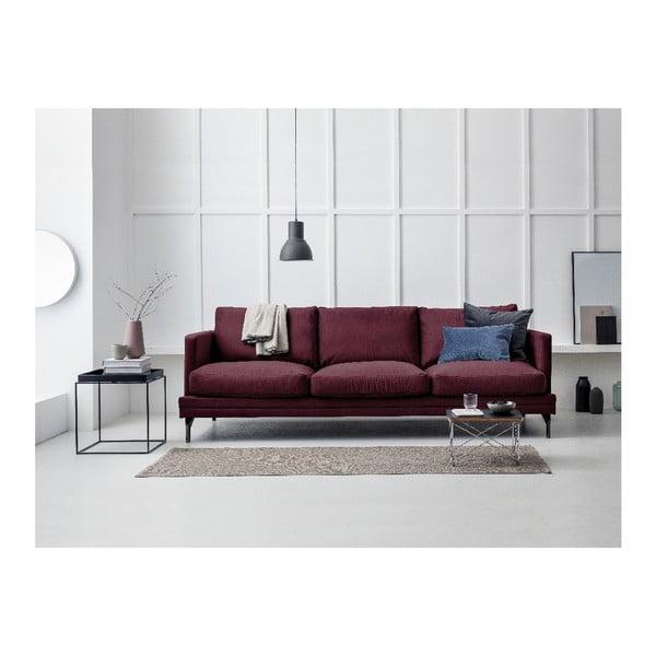 Bordeaux červené trojmístná pohovka s podnožím v černé barvě Windsor & Co Sofas Jupiter