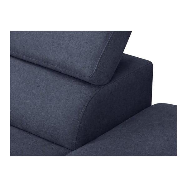 Tmavě modrá rozkládací rohová pohovka se sametovým potahem Windsor & Co Sofas Gamma, pravýroh