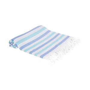 Modrá ručně tkaná osuška Ivy's Dilara, 100x180cm
