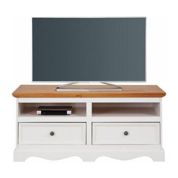Comodă TV din lemn masiv de pin cu blat natural Støraa Monty, lățime 120 cm, alb de la Støraa