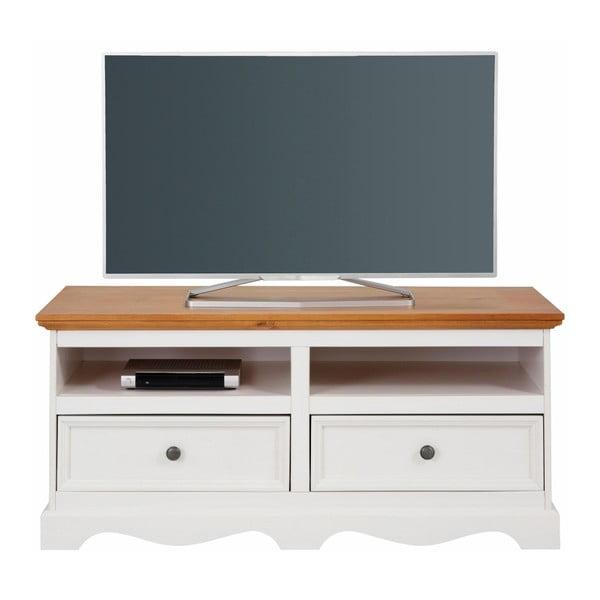 Monty fehér TV-szekrény tömör borovi fenyőből, természetes részletekkel, szélessége 120 cm - Støraa