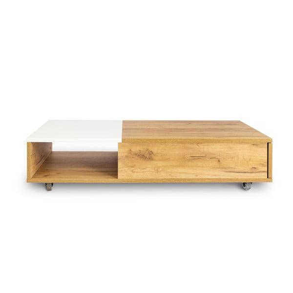 Konferenčný stolík so zásuvkou z dubového dreva SKANDICA Platt