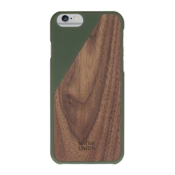 Ciemnozielone etui na telefon z drewnianym detalem iPhone 7 i 8 Native Union Clic Wooden